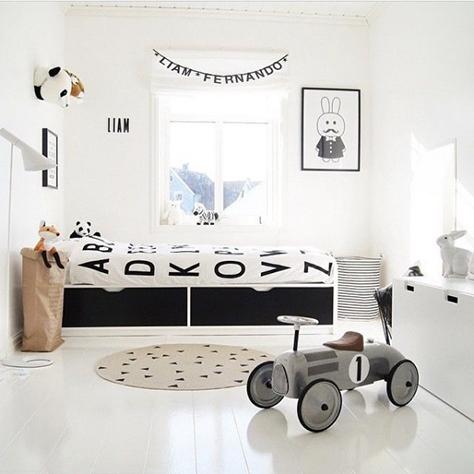 chambre enfant d co noir et blanc e interiorconcept. Black Bedroom Furniture Sets. Home Design Ideas